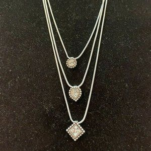 Brighton TWINKLE Triple Strand Crystal Necklace
